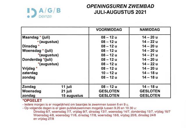 Openingsuren zwembad zomer 2021