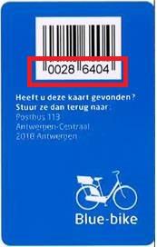 Blue-bike kaartnummer